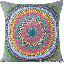 "EYES OF INDIA - 18"""" GRAY GREY EMBROIDERED DECORATIVE SOFA PILLOW CUSHION COVER Indian Boho Decor"