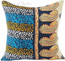 "EYES OF INDIA - 24"""" COLORFUL KANTHA SOFA THROW PILLOW CUSHION COVER Bohemian Decorative"