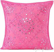 EYES OF INDIA - Pink Spiegel Bestickt Dekorative Sofa Kissenbezug Überwurf Indische Böhmisch Boho - Rosa, 16 X 16 in. (40 X 40 cm)