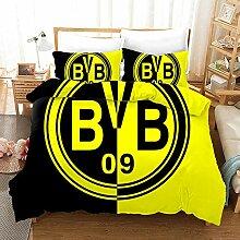 EZEZWSNBB Bettbezug Set Schwarz-gelbes BVB-Emblem