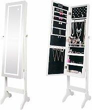 Ezigoo Spiegel Schmuckschrank beleuchtet mit Touchscreen LED Licht - Schmuckregal mit Ganzkörperspiegel