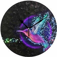 EZIOLY 3D-Wanduhr, Kolibri mit Sternen, 25,4 cm,
