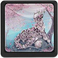 EZIOLY Kirschblüten Leopard Quadratische