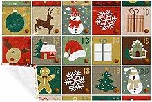 EZIOLY Kuschelige Decke mit Adventskalender, für