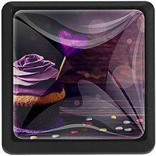 EZIOLY Rosen Cupcake Eckige Küche Schrankknäufe