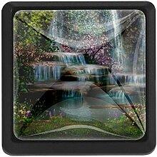 EZIOLY Wasserfall Blumen und Bäume quadratisch