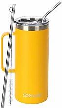 Ezprogear Edelstahl-Bierbecher, 900 ml, gelb,