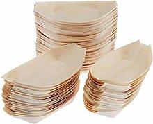 F Fityle 100 x Snackschalen Natur aus Holz Bio