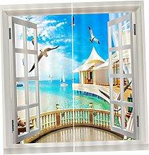 F Fityle 2er Set 3D Vorhang Vorhänge Dekoschal