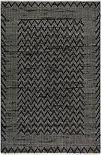 Fab Hab Allure, Schwarz & Creme - Recycelte Baumwolle/Regenerierte Fasern - Flachgewebe, Handgewebte Bodenmatte und Teppich (120 cm x 180 cm)