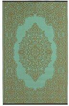 Fab Hab - Istanbul - Hellblau & Bronze - Teppich/ Matte für den Innen- und Außenbereich (150 cm x 240 cm)