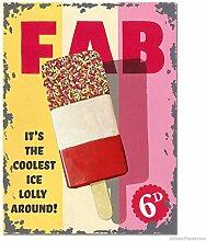 FAB Lolly ice cream - Essen, Alt Retro Werbeanzeige für laden, cafe, ice cream diele, pub, restaurant, zuhause und küche Metall/Stahl Wandschild - 20 x 30 cm