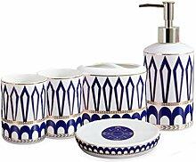 FABAX Robustes Badaccessoires-Set aus Keramik mit