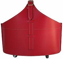 FABIA: Kaminholzkorb aus Leder Farbe Rot,