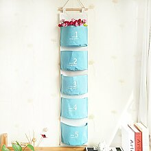 Fabric Lagerung hängender Beutel Wand Aufbewahrungstasche hängen an der Wand hinter der Tür blau