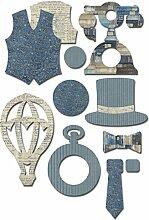 Fabscraps The Gentleman 's Club, Applikationen Motive 12-teilig, Herren-Accessoires, blau