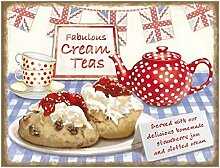Fabulous Cream Teas. Strawberry Jam, Clotted Cream und Tasse Tee. Topf, China, Lebensmittel. untion Buben und Wimpelkette. Für Haus, Zuhause, Bar, Kneipe oder cafe. Metall/Stahl Wandschild, stahl, 30 x 40 cm