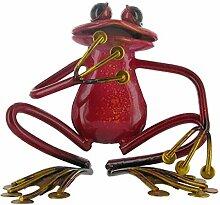 Fabulous rot hockend, Metall Garten Frosch