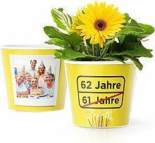 Facepot 62.Geburtstag Geschenk - Blumentopf