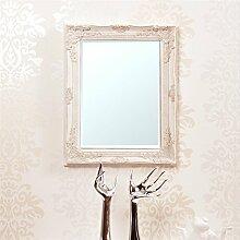 FACETTENSPIEGEL mit BAROCK HOLZRAHMEN 37x47cm von XTRADEFACTORY Wandspiegel Antik-Look weiß