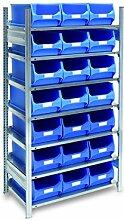 Fachbodenregal mit 21 Sichtlagerkasten blau, Gr. 5