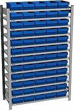 Fachbodenregal mit 60 Regalboxen blau, 500 mm tief