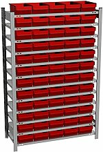 Fachbodenregal mit 60 Regalboxen rot, 300 mm tief