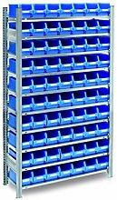 Fachbodenregal mit 60 Sichtlagerkasten blau, Gr. 3