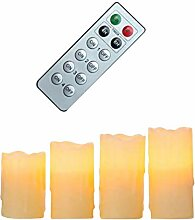Fachhandel Plus 4er Set LED Kerze Echtwachs Creme