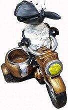 Fachhandel Plus Deko-Schaf auf Motorrad mit