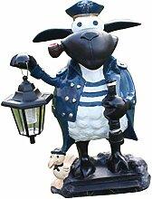 Fachhandel Plus Deko-Schaf Kapitän mit LED-Lampe,