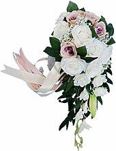 Facibom Hochzeits-Brautstrauß, handgebunden,