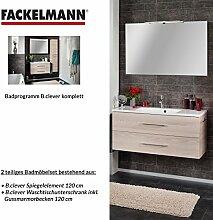 Fackelmann Badmöbel Set B.Clever 2-tlg. 120 cm esche mit Waschtisch Unterschrank inkl. Gussmarmorbecken & Spiegelelemen