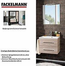 Fackelmann Badmöbel Set B.Clever 2-tlg. 60 cm esche mit Waschtisch Unterschrank inkl. Gussmarmorbecken & Spiegelelemen