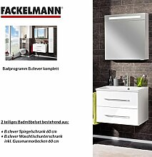 Fackelmann Badmöbel Set B.Clever 2-tlg. 60 cm weiß mit Waschtisch Unterschrank inkl. Gussmarmorbecken & LED Spiegelschrank