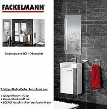 Fackelmann Badmöbel Set Sceno Gäste WC 3-tlg. 45 cm anthrazit weiß mit Waschbecken Unterschrank & Waschbecken & Spiegelelemen