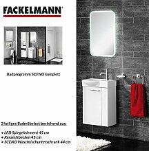 Fackelmann Badmöbel Set Sceno Gäste WC 3-tlg. 45 cm weiß mit Waschbecken Unterschrank & Keramikbecken & LED Spiegelelemen