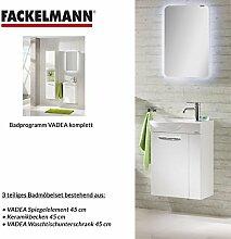 Fackelmann Badmöbel Set Vadea Gäste WC 3-tlg. 45 cm weiß mit Waschbecken Unterschrank & Keramikbecken & LED Spiegelelemen