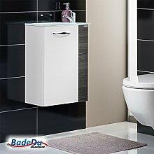 Fackelmann SCENO Badmöbel Set Gäste-WC Farbe Weiß/Pinie-Anthrazit-Optik (3-teilig) - Glaswaschtisch mit Armatur