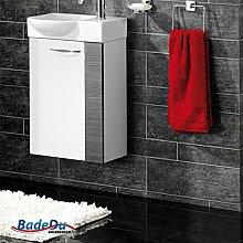 Fackelmann SCENO Badmöbel Set Gäste-WC Farbe Weiß/Pinie-Anthrazit-Optik (2-teilig) - Waschbecken links