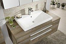 Fackelmann Waschbecken STANFORD / Keramikbecken / Badmöbel / Maße (BxHxT): ca. 70 x 16,5 x 45 cm / Farbe: weiß / Breite 70 cm / Waschtisch fürs Bad