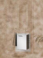 Fackelmann Waschbecken Unterschrank für Gäste-WC 45 cm Pinie-Anthrazit Optik weiß Hochglanz für Unterschränke mit linkem Türanschlag Bad Programm: Como