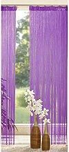 Fadenstore Fadengardine mit Tunneldurchzug und Kräuselband 140 x 250 cm, Farbe:lila