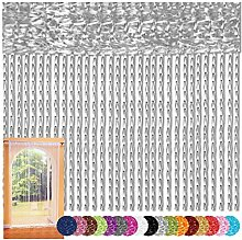 Fadenvorhang 140x240 Fadengardine Insektenschutz Raumteiler Auswahl: silber - silbergrau