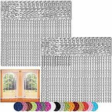 Fadenvorhang 2er Pack Gardine Raumteiler, Auswahl: 140x240 silber - hellgrau