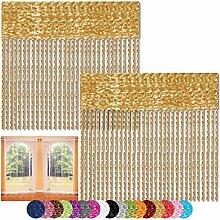 Fadenvorhang 2er Pack Gardine Raumteiler, Auswahl: 90x240 gold - goldbeige