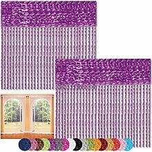 Fadenvorhang 2er Pack Gardine Raumteiler, Auswahl: 90x240 lila - pflaume