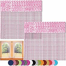 Fadenvorhang 2er Pack Gardine Raumteiler, Auswahl: 90x240 rosa - kirschblütenrosa