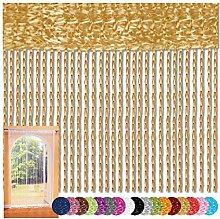 Fadenvorhang 90x240 Fadengardine Insektenschutz Raumteiler Auswahl: Gold