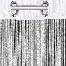 Fadenvorhang mit Ösen, individuell kürzbare Gardine, moderner und eleganter Dekorationsartikel in vielen Farben und Ausführungen (B140xL250 cm/weiß - schneeweiß)